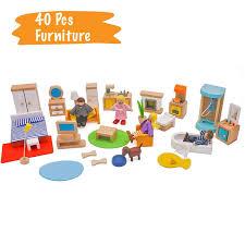 Wooden Dollhouse Furniture Set Miniature Bathroom Guest Room