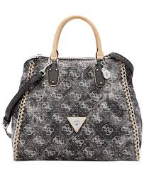 guess amelle denim signature retro medium satchel all handbags