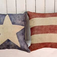 American Flag Pillows Burlap Pillow Set Beach House Cabin