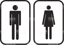 vecteur homme et femme panneaux indiquant les toilettes stock