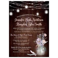 Rustic Wedding Invitation With Brown Wood Mason Jars String Lights And Purple
