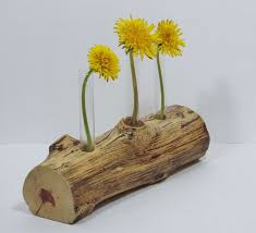 Rustic Flower Vase Found Wood 3 Test Tube Bud By Llacarve 1500
