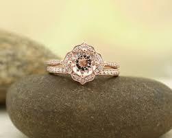 Etsy AAA Morganite Engagement Ring Set Diamond Wedding Ring Set