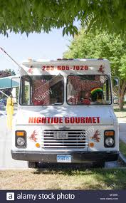 100 Gourmet Food Truck High Tide Parked On The Madison Green Stock Photo