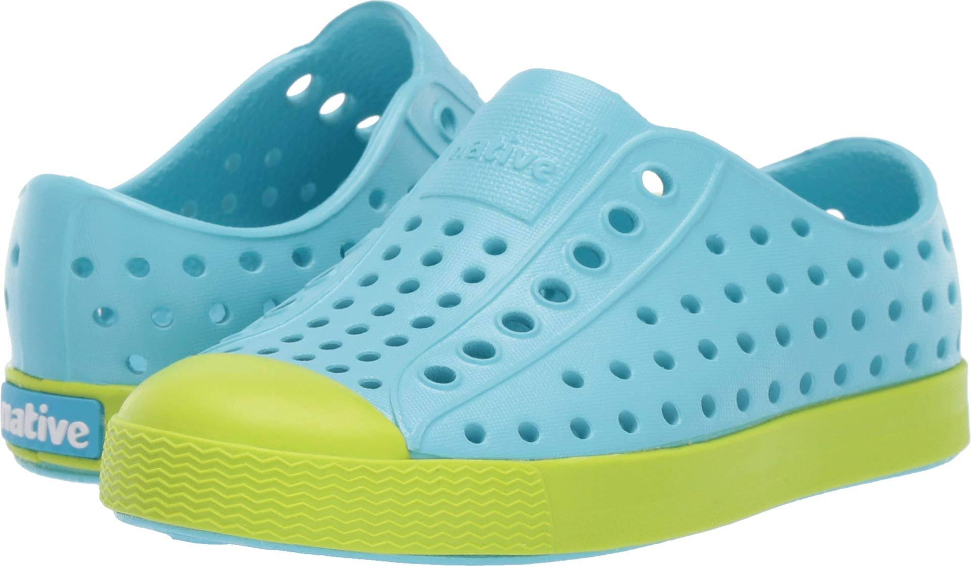 Native Kids Shoes Jefferson (Toddler/Little Kid) Hamachi Blue/glo Green 5 Toddler, Girls