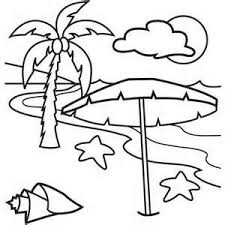 Scenery Coloring Pages Beach Kids