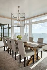 Water Front Home Is Designed By Micheal Greenberg And Associates The Light Fixture A Perfect Example Of Using An Oversized Above Your Table
