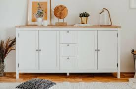 schrank sideboard landhausstil weiß eiche wohnzimmer kommode 180x90 cm bergus