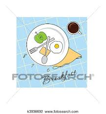 Clipart Of Breakfast Time K3936692