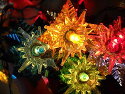 Vintage Multi Colored Christmas Tree Lights With Foil Reflectors