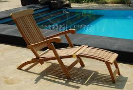 Teak Steamer Chairs Cushions by Teak Sun Lounger Pair With Cushion Reclines In 4 Positions