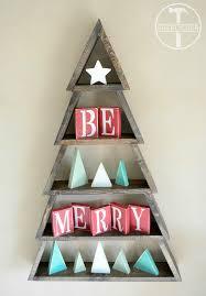 DIY Wood Christmas Tree Shelf With Mini Star Trees And Be Merry Blocks