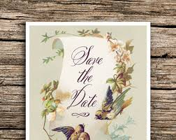 Vintage Birds Save The Date Cards Bird Themed Wedding Invitations Calligraphy Dates