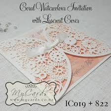 Coral Watercolour Wedding Invitations Square With IC019