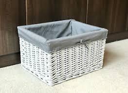 details zu large white grey wicker storage basket box gift her bathroom bedroom lined