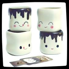 Marshmallow Smiling Faces Cute Coffee Mugs