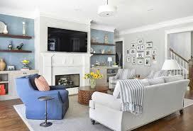 Glamorous Swivel Chair Living Room Blue Armchair Peach Decorative Cushion White Sofa Grey Stripes