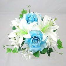 Artificial Silk Flower Sky Blue Rose & Lily Bouquet for bridesmaids