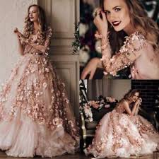 Image Is Loading Rustic 3D Floral Lace Blush Wedding Dresses Long