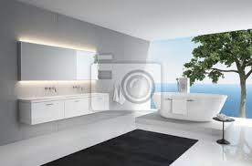 fototapete grau weiß modernen eleganten luxus badezimmer interieur meerblick