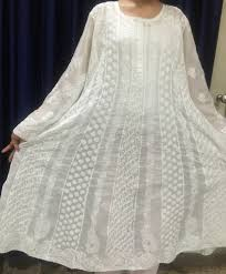 white cotton anarkali hand embroidery long maxi wedding dress