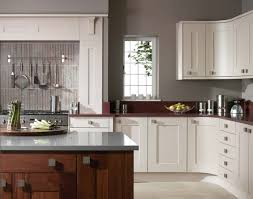 Kitchen Wall Paint Colors With Cherry Cabinets by Grey Wall Kitchen Furnished With Pot Rack Mykitcheninterior