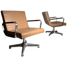 Pair Of Vintage 1970s Techfab Chromcraft Latte Lounge Chairs
