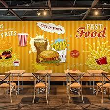 3d fototapete fast food hamburger pommes frites restaurant