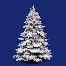 Vickerman Flocked White On Green Alaskan Christmas Tree 10 Foot