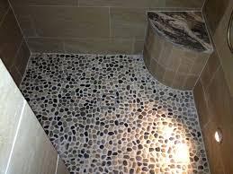 Pebble Bathroom Floor Rustic Contemporary Bathrooms Shower Featuring Invisible Drain