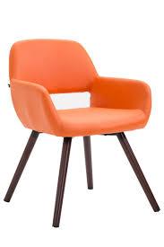 esszimmerstuhl bobby kunstleder orange walnuss jetzt