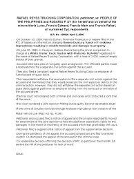 100 Reyes Trucking Reyes Trucking Corporation Vs People Prosecutor Lawsuit