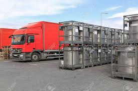 100 Bulk Truck And Transport Metal Containers For Goods Stock Photo