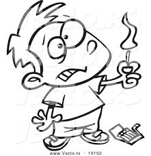 Vector Of A Cartoon Boy Playing With Matches
