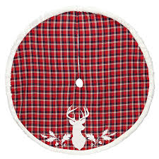 Holiday Living 56 In Red Polyester Deer Christmas Tree Skirt