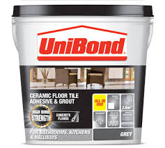 unibond ready to use floor tile adhesive grout grey 14 3kg