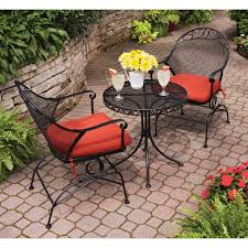 3 Piece Bar Height Patio Bistro Set by Dining Room Fascinating Dark Wrought Iron Stained Woodard Capri