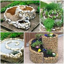 Rustic Garden Art Awesome Brown Round Contemporary Stone Decorative Spiral Herb Design