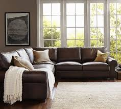 turner roll arm leather 3 piece l shaped sectional pottery barn