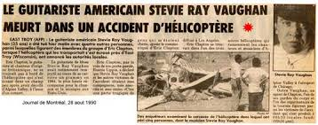 Stevie Ray Vaughan Newspaper Report Of His Death