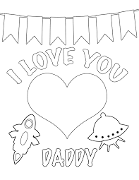 I Love You Daddy Free Coloring Page Kids Valentines Day Inside Pages