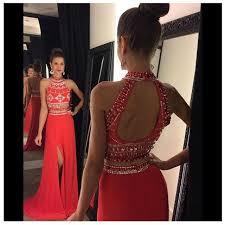 fashion luxury red piece prom dresses neck beaded 2 piece