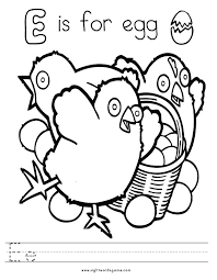 E For Egg Coloring Page