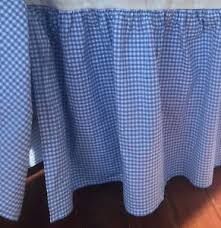 EUC Pottery Barn Twin Blue Gingham Bedskirt Bed Skirt Dust Ruffle