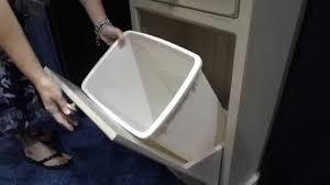 amish tilt out trash bin cabinet with drawer youtube