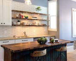 floating wooden open shelves with lights white subway tile