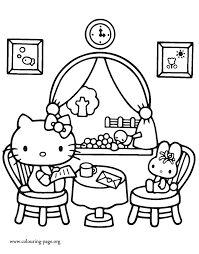 Hello Kitty At A Restaurant Coloring Page