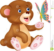 Cute Baby Bear Cartoon Playing With Butterfly Stock Vector