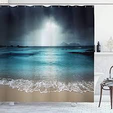 tropische dusche vorhang ambesonne sturm himmel am strand la dugue insel seychellen dramatische szene stoff badezimmer decor set mit haken