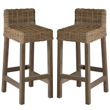 Woven Rattan Gray Washed Bar Stools